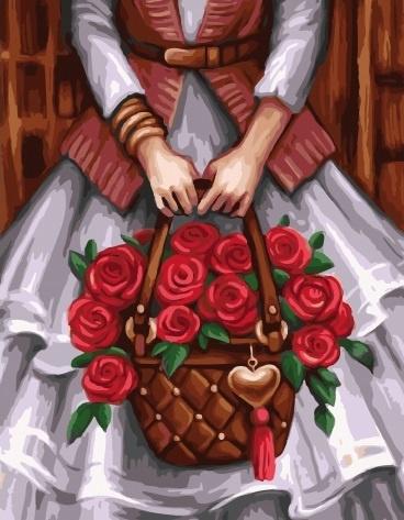 Картина по номерам 40x50 Девушка с корзиной красных роз