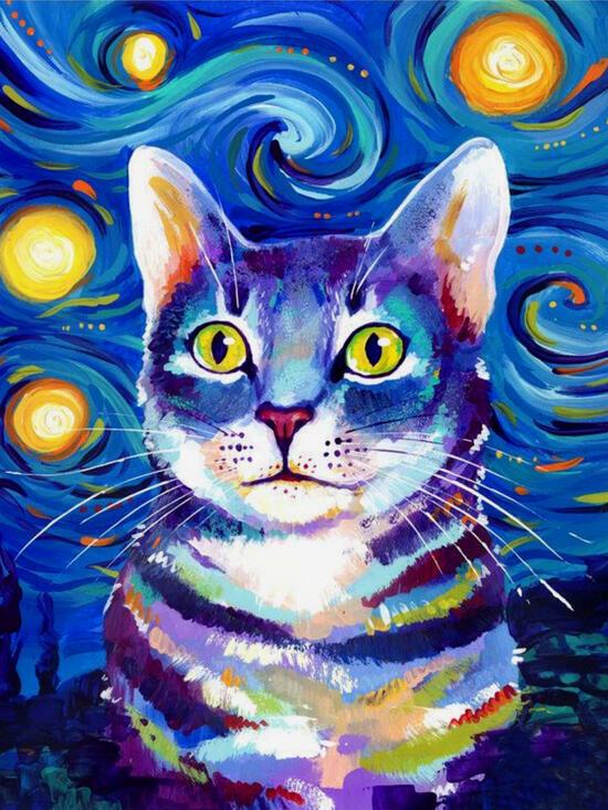 Картина по номерам 40x50 Яркий кот под большими звёздами